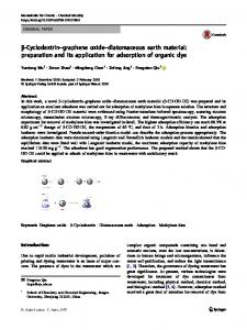 β-Cyclodextrin–graphene oxide–diatomaceous earth material: preparation and its application for adsorption of organic dye