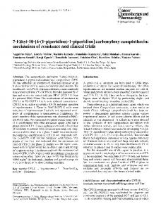 7-Ethyl-10-[4-(1-piperidino)-1-piperidino] carbonyloxy camptothecin: mechanism of resistance and clinical trials
