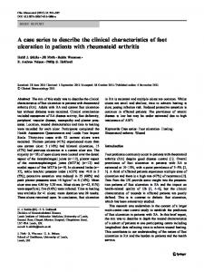 A case series to describe the clinical characteristics of foot ulceration in patients with rheumatoid arthritis