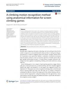 A climbing motion recognition method using anatomical information for screen climbing games