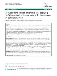 A cluster randomised pragmatic trial applying Self-determination theory to type 2 diabetes care in general practice