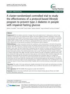 A cluster-randomized controlled trial to study the effectiveness of a protocol-based lifestyle program to prevent type 2 diabetes in people with impaired fasting glucose