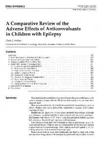 A Comparative Review of the Adverse Effects of Anticonvulsants in Children with Epilepsy