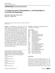 A Comparative Study of Phospholipase A1 and Phospholipase C on Soybean Oil Degumming
