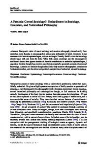 A Feminist Carnal Sociology?: Embodiment in Sociology, Feminism, and Naturalized Philosophy