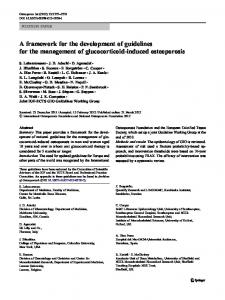 A framework for the development of guidelines for the management of glucocorticoid-induced osteoporosis