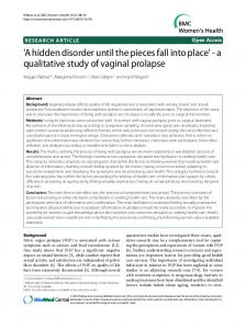'A hidden disorder until the pieces fall into place' - a qualitative study of vaginal prolapse