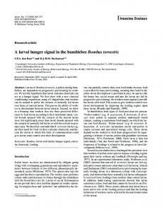 A larval hunger signal in the bumblebee Bombus terrestris