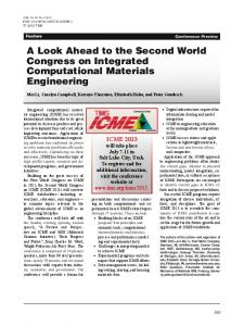 A Look Ahead to the Second World Congress on Integrated Computational Materials Engineering
