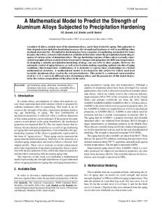 A mathematical model to predict the strength of aluminum alloys subjected to precipitation hardening