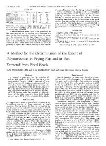 A method for the determination of the extent of polymerization in frying fats and in fats extracted from fried foods