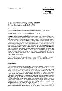 A modeled time-varying density function for the incubation period of AIDS
