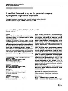 A modified fast-track program for pancreatic surgery: a prospective single-center experience