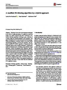 A modified ZS thinning algorithm by a hybrid approach