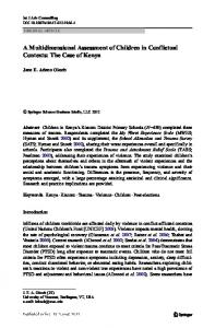 A Multidimensional Assessment of Children in Conflictual Contexts: The Case of Kenya