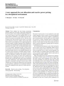 A new approach for cost allocation and reactive power pricing in a deregulated environment
