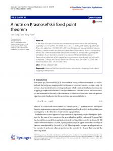 A note on Krasnosel'skii fixed point theorem
