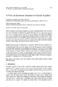 A note on saltwater intrusion in coastal aquifers