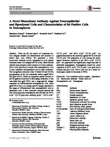 A Novel Monoclonal Antibody Against Neuroepithelial and Ependymal Cells and Characteristics of Its Positive Cells in Neurospheres