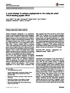 A novel strategy to enhance angiogenesis in vivo using the small VEGF-binding peptide PR1P