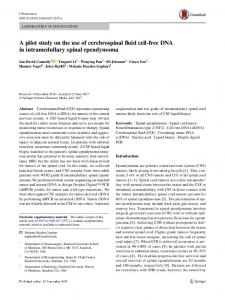 A pilot study on the use of cerebrospinal fluid cell-free DNA in intramedullary spinal ependymoma