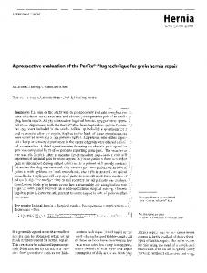 A prospective evaluation of the PerFix® Plug technique for groin hernia repair