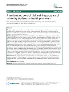 A randomized control trial: training program of university students as health promoters