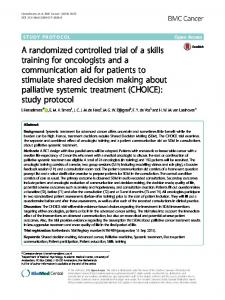 A randomized controlled trial of a skills training for oncologists and a communication aid for patients to stimulate shared decision making about palliative systemic treatment (CHOICE): study protocol