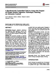 A Randomized Controlled Trial to Assess the Impact of Proper Insulin Injection Technique Training on Glycemic Control