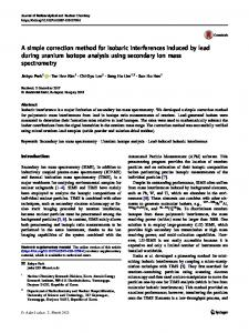 A simple correction method for isobaric interferences induced by lead during uranium isotope analysis using secondary ion mass spectrometry