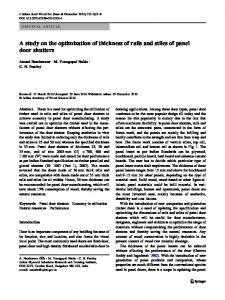 A study on the optimization of thickness of rails and stiles of panel door shutters