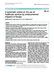 A systematic review on the use of healthcare services by undocumented migrants in Europe