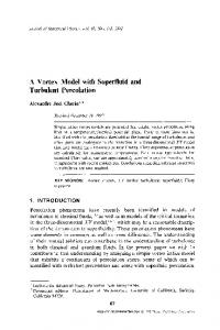 A vortex model with superfluid and turbulent percolation