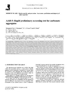 AAR-5: Rapid preliminary screening test for carbonate aggregates