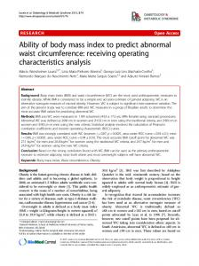 Ability of body mass index to predict abnormal waist circumference: receiving operating characteristics analysis