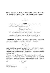 Absolute tauberian conditions for absolute hausdorff and quasi-hausdorff methods