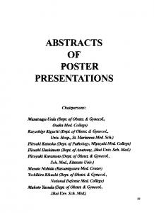 Abstracts of Poster Presentations