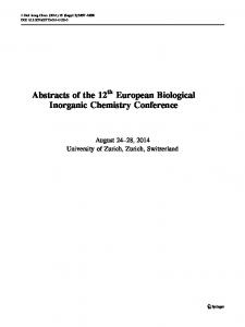 Abstracts of the 12th European Biological Inorganic Chemistry Conference