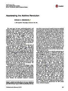 Accelerating the Additive Revolution