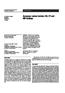 Accessory spleen torsion: US, CT and MR findings