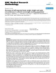 Accuracy of self-reported body weight, height and waist circumference in a Dutch overweight working population