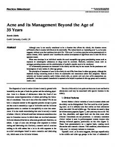 Acne and its Management Beyond the Age of 35 Years
