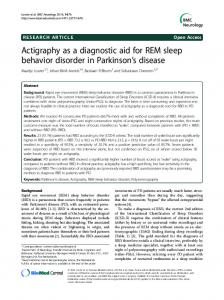 Actigraphy as a diagnostic aid for REM sleep behavior disorder in Parkinson's disease