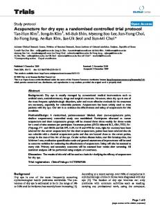 Acupuncture for dry eye: a randomised controlled trial protocol