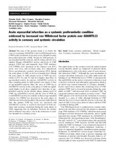 Acute myocardial infarction as a systemic prothrombotic condition evidenced by increased von Willebrand factor protein over ADAMTS13 activity in coronary and systemic circulation