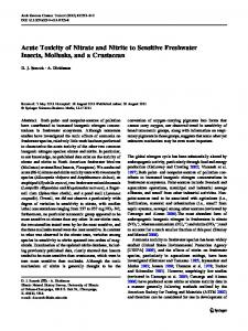 Acute Toxicity of Nitrate and Nitrite to Sensitive Freshwater Insects, Mollusks, and a Crustacean