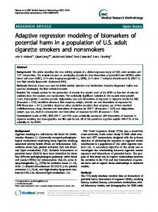 Adaptive regression modeling of biomarkers of potential harm in a population of U.S. adult cigarette smokers and nonsmokers