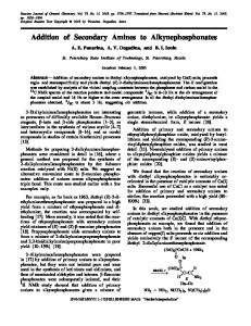 Addition of Secondary Amines to Alkynephosphonates