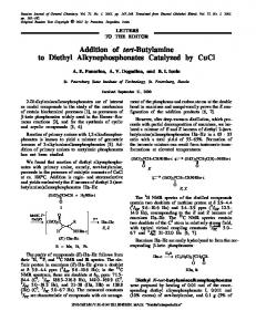 Addition of tert-Butylamine to Diethyl Alkynephosphonates Catalyzed by CuCl