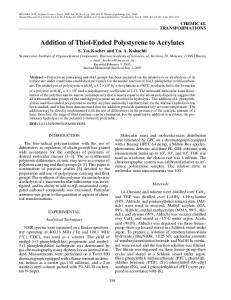 Addition of thiol-ended polystyrene to acrylates